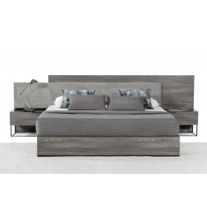 Nova Domus Enzo Italian Modern Grey Walnut & Fabric Bed
