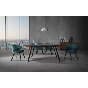 Modrest Quinn Modern Walnut & Teal Dining Set