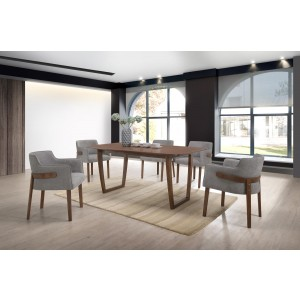 Modrest Jordan Modern Walnut U0026 Grey Dining Set