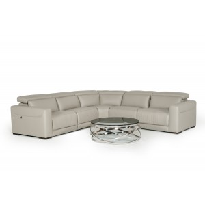 Estro Salotti Thelma Modern Grey Leather Sectional Sofa w/ Recliners