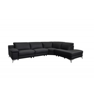 Estro Salotti Hypnose Italian Modern Black Leather Sectional Sofa w/ Recliner