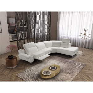 Estro Salotti Hypnose Italian Modern White Leather Sectional Sofa w/ Recliner