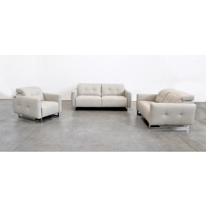 Estro Salotti Duca Modern Grey Leather Sofa Set w/ Recliners