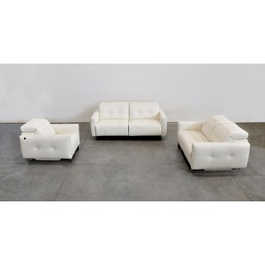 Estro Salotti Duca Modern White Leather Sofa Set w/ Recliners