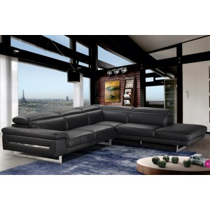 Accenti Italia Velvet - Italian Black Leather Sectional Sofa