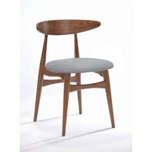 Modrest Prospect - Modern Grey Fabric & Walnut Dining Chair