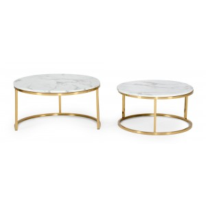 Modrest Jenkin - Modern Gold and Marble Coffee Table Set