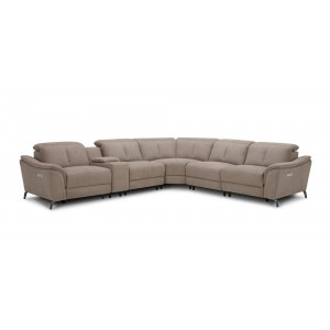 Divani Casa Lloyd - Modern Grey Fabric Sectional with Two Recliners