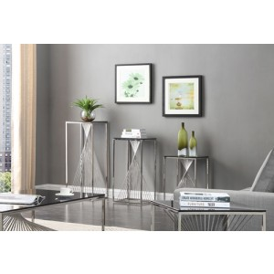 Modrest Trinity Modern 3-Piece Glass & Stainless Steel Table Set