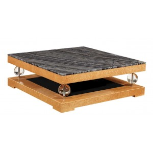 Art Deco Black Marble Top Coffee Table