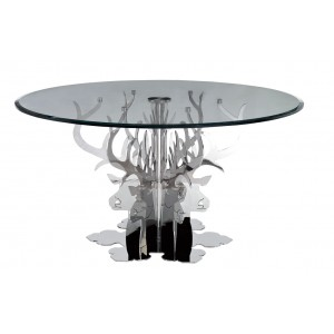 Temptation Hamlet Round Luxury Glass Dining Table