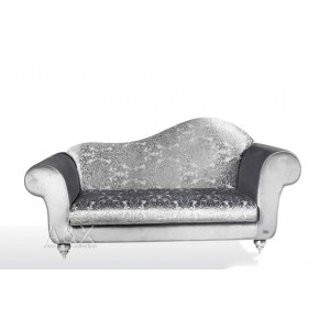 A&X Silver Color Fabric Regency Style Chaise