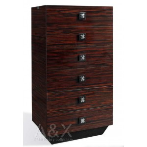A&X Ebony Lacquered 6 Drawers Chest