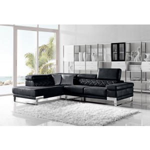 Divani Casa Arden Modern Black Fabric Sectional Sofa