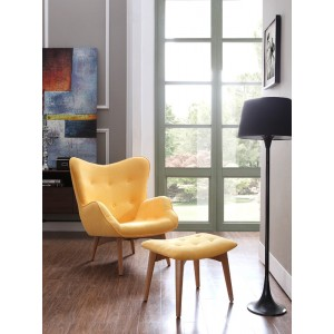 Divani Casa Castaic Modern Yellow Fabric Chair & Ottoman