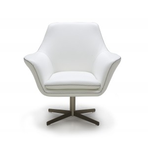 Divani Casa Poli - Modern Leather Swivel Lounge Chair