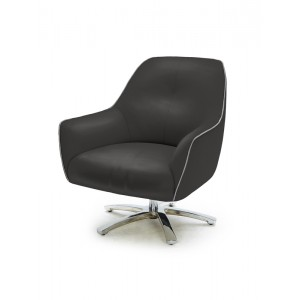 Divani Casa Clover Modern Black and Grey Eco-Leather Lounge Chair