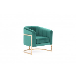 Modrest Trask Modern Green Velvet & Rosegold Accent Chair