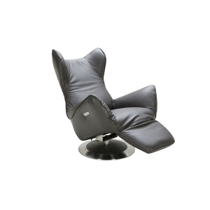 Divani Casa Manitoba Modern Grey Leather Electric Recliner Chair