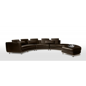 Divani Casa A94 - Contemporary Leather Sectional Sofa & Ottoman