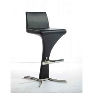 Modrest Ascella Modern Black Leatherette Bar Stool