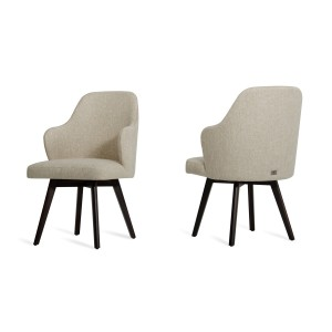 Caligari - Modern Oak Off-White Fabric Dining Chair (Set of 2)