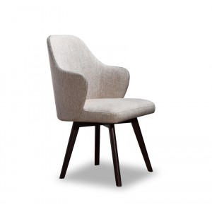 A&X Caligari Modern Oak Off-White Fabric Dining Chair