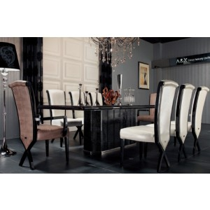 A&X Supreme - Luxury Ebony Veneer and Black Crocodile Dining Table