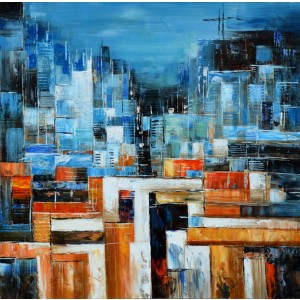 Modrest Abstract Blue & Orange Oil Painting