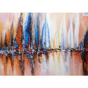 Modrest Abstract Sailboats Oil Painting