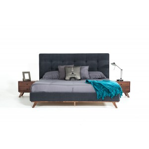 Modrest Addison Mid-Century Modern Grey Fabric & Walnut Bed