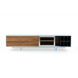 Modrest Aegean Modern Walnut and Teal TV Stand