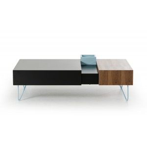 Modrest Aegean Modern Black and Walnut Coffee Table