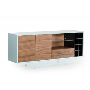 Modrest Aegean Modern Walnut and Teal Buffet