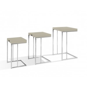A&X Amelia - Modern Champagne Crocodile Lacquer Nesting Table Set