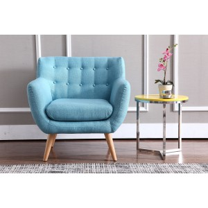 Divani Casa Albany Modern Blue Fabric Accent Chair