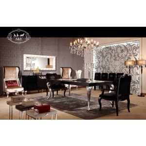 A&X Ampir Transitional Black Crocodile Dining Table w/ Silver Legs