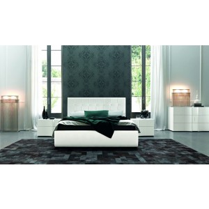 SMA Prestige - White Kaiman Eco-Leather Bed with Swarovski Crystals