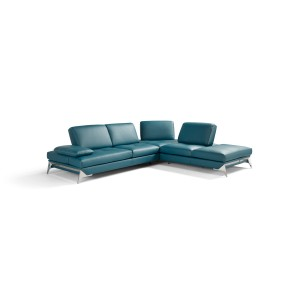 Nova Domus Andrea Modern Blue Leather Sectional Sofa
