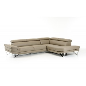 Lusso Aria Modern Grey Italian Leather Sectional Sofa