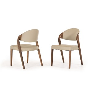 Modrest Arlo Modern Grey & Walnut Dining Chair