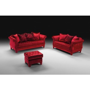 Estro Salotti Avalon Modern Red Fabric Sofa Set