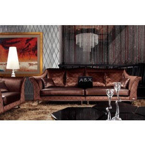 A&X AX019 Transitional Coffee Leather and Fabric Sofa Set