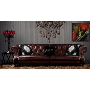 A&X Chesterfield Leather Design 4 Seater Sofa - 029