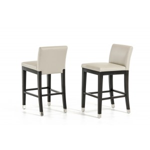Modrest Silas Modern Beige Leatherette Counter Stool