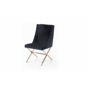 Modrest Alexia Modern Black & Rosegold Dining Chair