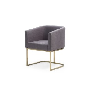 Modrest Yukon Modern Grey Velvet & Antique Brass Dining Chair