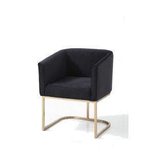 Modrest Yukon Modern Black Velvet & Gold Dining Chair