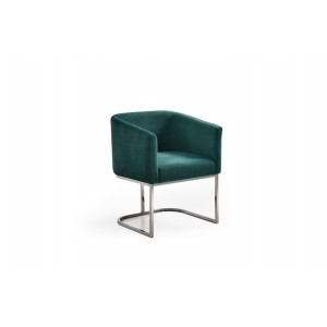 Modrest Yukon Modern Green Velvet & Black Gun Dining Chair