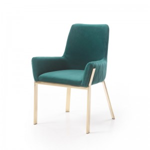 Modrest Robin Modern Green Velvet & Gold Dining Chair
